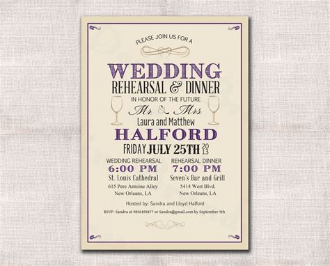 wedding rehearsal dinner invitations wedding rehearsal dinner invitation custom printable