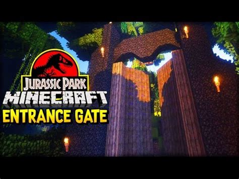 let s build jurassic park the entrance gate minecraft