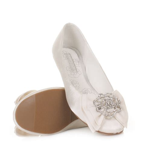 womens flat ivory satin wedding shoes