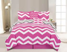 10 chevron pink bed in a bag set