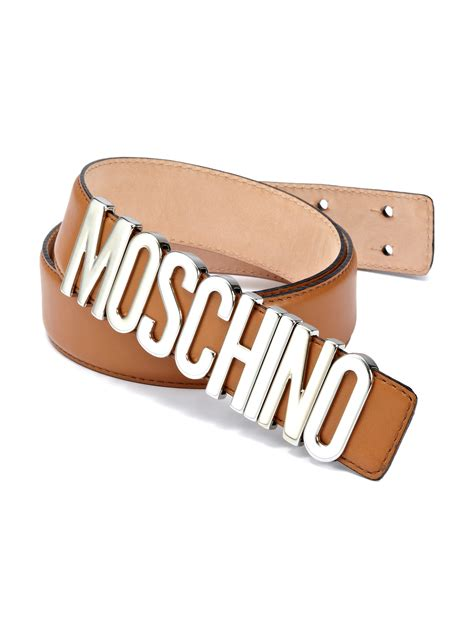 Moschino Belt moschino logo buckle leather belt in brown for lyst