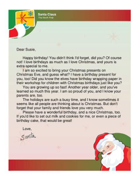 printable letter from santa for christmas morning letter from santa for christmas birthday