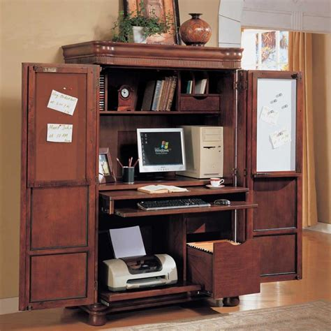 Cherry Wood Computer Armoire Stunning Application For Armoire Computer Desk Atzine
