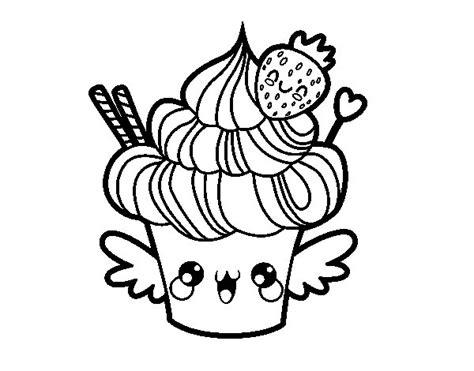 imagenes de monitos kawaii para colorear dibujo de cupcake kawaii con fresa para colorear dibujos net