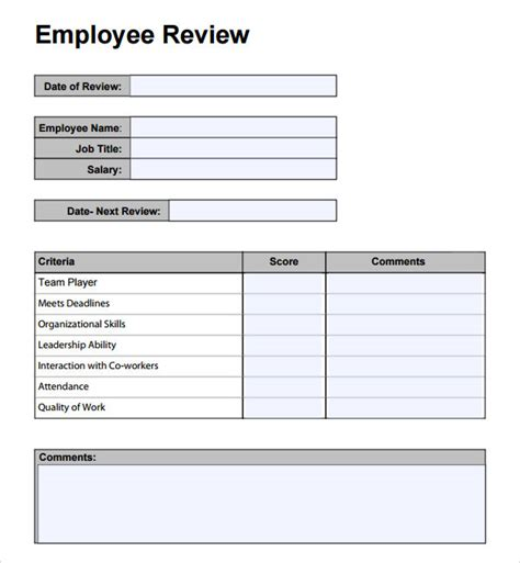 employee review template template business