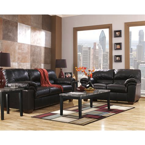 Black Living Room Sets Sofa Sets Signature Design By Commando Living Room Set In Black Leather Fsd 2129set Blk