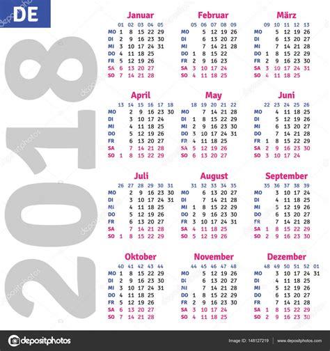 Germany Calendrier 2018 German Calendar 2018 Stock Vector 169 Rustamank 148127219