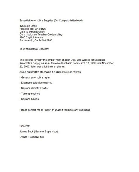 proof of employment letter sample pdf format business document