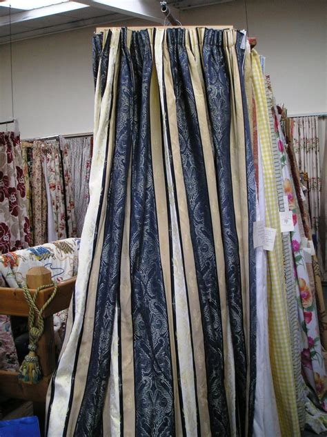 Blue And Gold Curtains 1235 Blue Gold Stripe With Damask Pattern Details 163 275 00 Blue Curtains