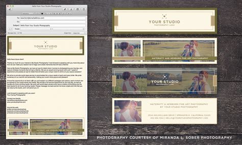 studio email stationery header footer mimimal luxe