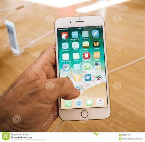 new iphone 8 and iphone 8 plus in apple store with apps desktop editorial photo image of
