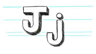 how to draw 3d letters j uppercase j and lowercase j in