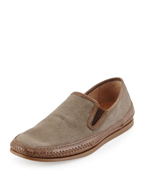 D Island Shoes Slip On Canvas varvatos leather trim canvas slip on in green for lyst