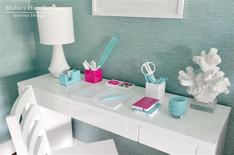 aqua blue desk accessories turquoise grasscloth contemporary den library office