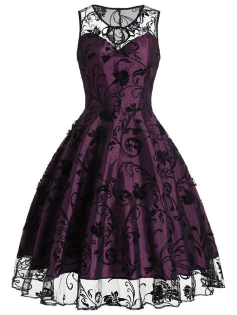 Retro Dress vintage dresses purplish s floral tulle sleeveless
