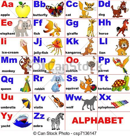 imagenes en ingles en orden alfabetico ilustraciones vectoriales de colocado animales carta