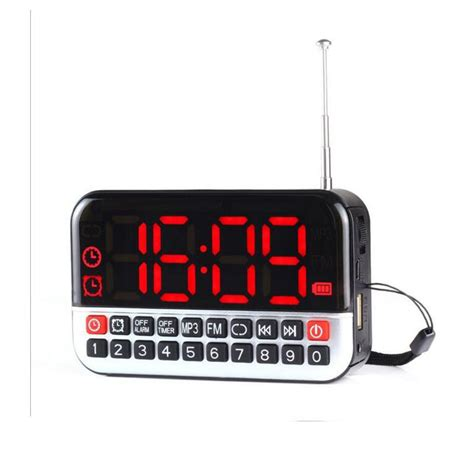 portable lcd large screen fm radio alarm clock mp3 player speaker usb tf player