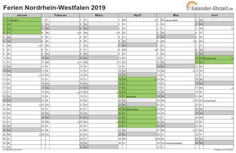 Jahreskalender 2019 Nrw Ferien Nordrhein Westfalen 2019 Ferienkalender Zum
