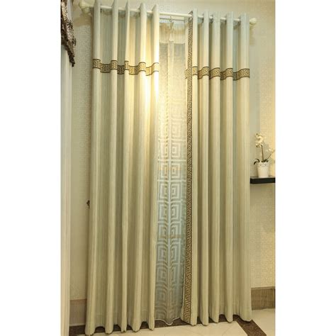beige patterned embroidery chenille custom modern curtains