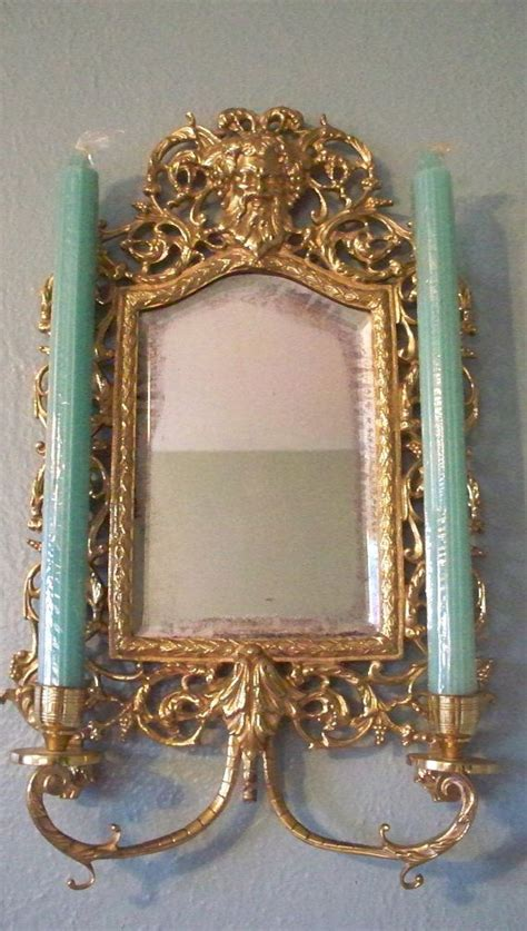 Candle Wall Sconces With Mirror Antique Victorian French Chinoiserie Brass Wall Sconce