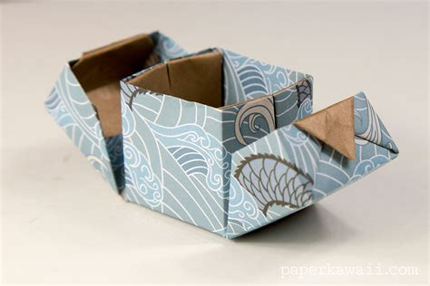 origami hinged box tutorial paper kawaii