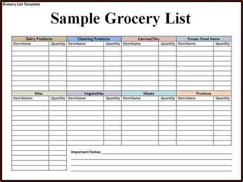 Pantry List Template by Grocery List Template Blank Grocery Shopping List Template