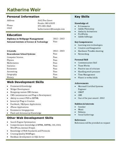 13 Student Resume Exles High School And College Web Developer Resume Template