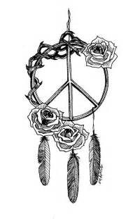 peace logo dreamcatcher woth roses tattoo stencil by elin