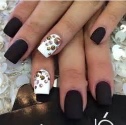 matte black nail designs matte black white studs rhinestones nails bling