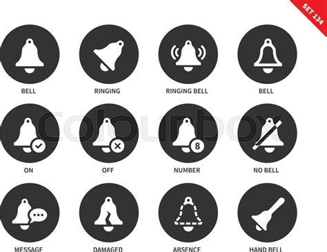 Set Kulo Bell Monocrome Hnc alarm bells vector icons set ringing bell bells showing on status message notification