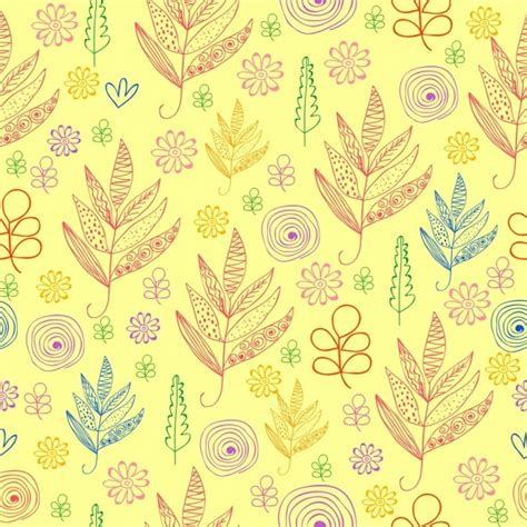 flat background pattern free flowers pattern background hand drawn flat colored outline