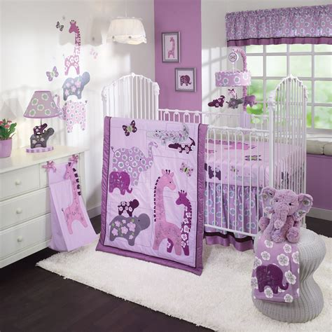Hippo Crib Bedding Baby Nursery Decor Animal Lover Design Custom Purple Baby Nursery Elephant Hippo Giraffe