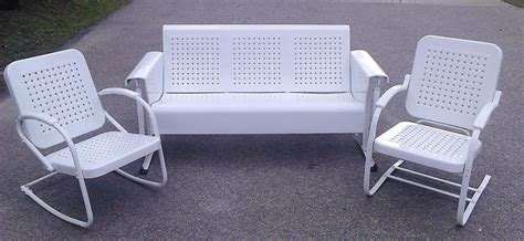 vintage patio glider vintage metal porch glider set with chairs by