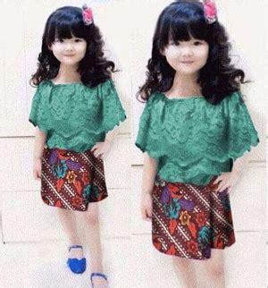 Kemeja Batik Anak Gajah Tosca setelan baju kebaya rumbai brukat dan rok batik anak