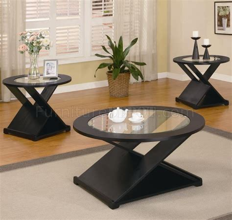 living room table set rich black finish modern 3pc coffee table set w round
