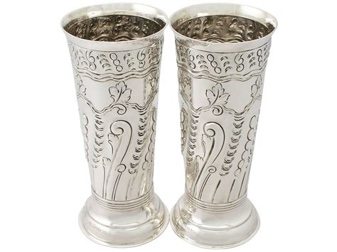 Silver Vase by Pair Of Sterling Silver Vases Centerpieces Antique