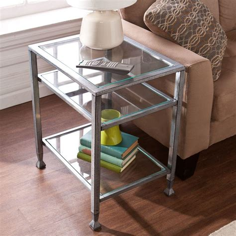 silver and glass end tables southern enterprises silver and black glass top end table
