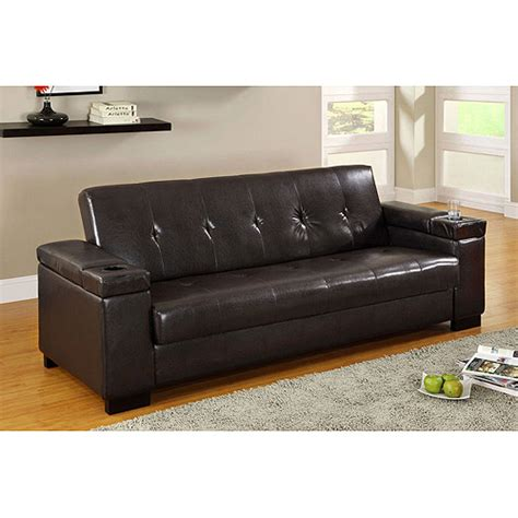 Find Futons Venetian Logan Leatherette Futon With Storage Espresso