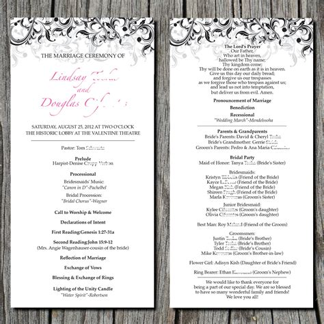 layout of wedding ceremony program simple elegant wedding ceremony program digital by