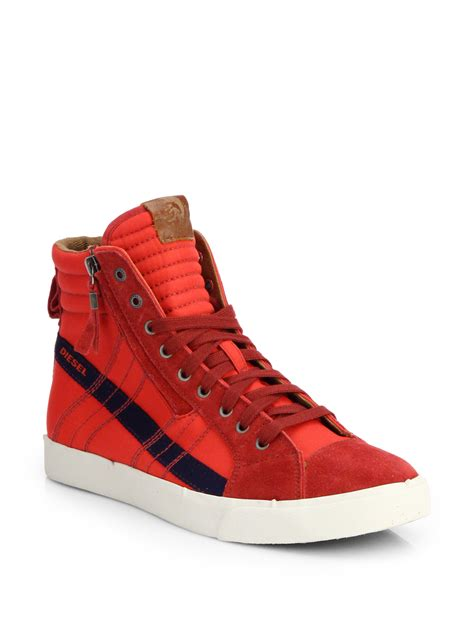 diesel sneakers diesel dstring striped hightop sneakers in for lyst