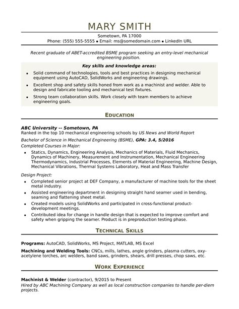 mechanical engineer resume exles sle resume for an entry level mechanical engineer