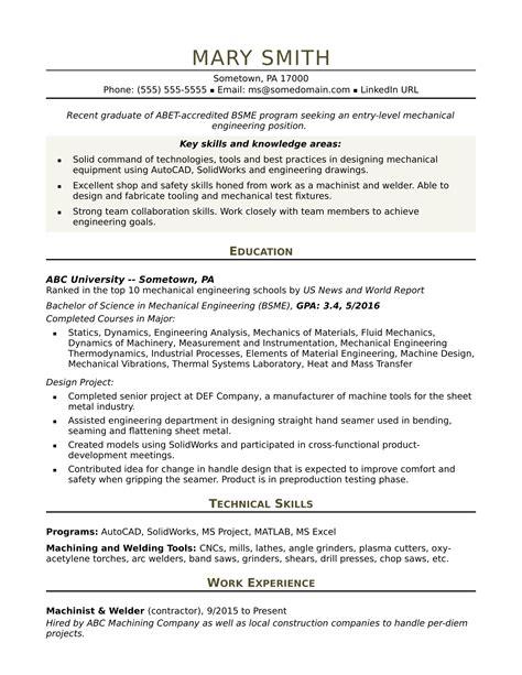 sample resume   entry level mechanical engineer monstercom