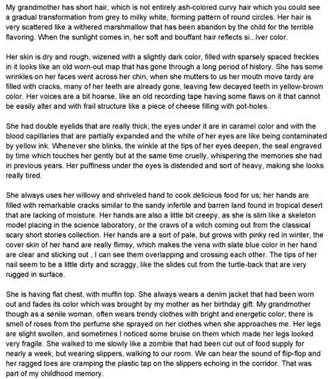 Descriptive Essay Assignment by Second Assignment Descriptive Essay My Grandmother Muffle