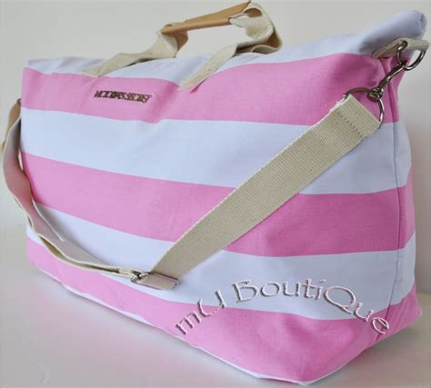 Benefit I Pink I You Bag 1 new secret pink white stripe getaway duffel travel bag tote 99 ebay
