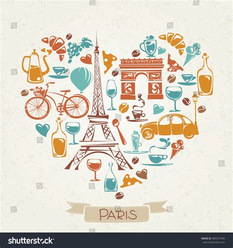 0008100594 when in french love love paris heart shaped pattern french stock vector
