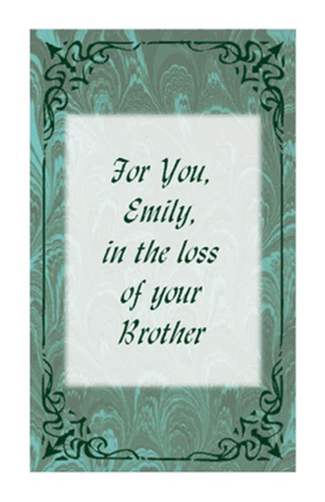 comforting words for death of a brother quot loss of brother quot encouragement printable card blue
