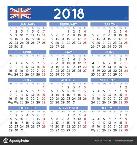 Calendar 2017 And 2018 Uk 2018 Squared Calendar Uk Week Starts On Monday