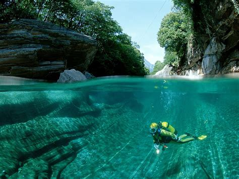 clearest water crystal clear waters of verzasca river swiss alps i