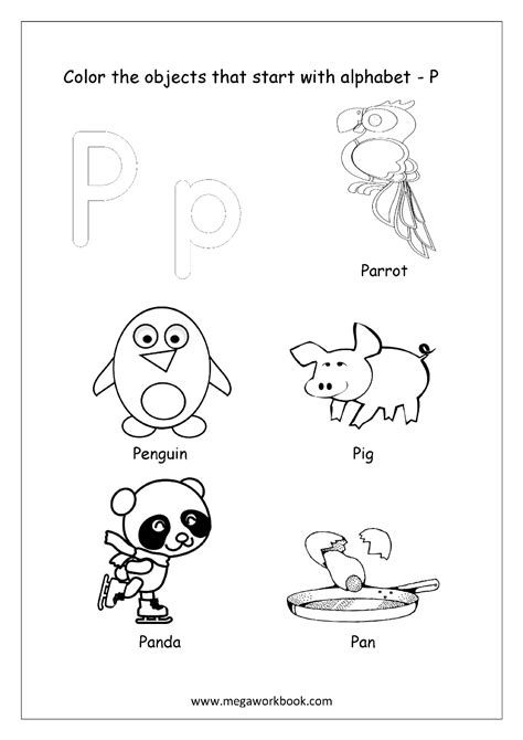 colors that start with p free worksheets alphabet picture coloring