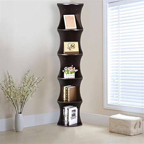 Tall Slim Bookcase Go2buy 5 Tier Wood Round Wall Corner Shelf Slim Bookshelf